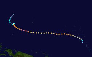1958 Pacific typhoon season - Image: Ophelia 1958 track