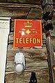 Oppdalsmuseet Bygdemuseum Skarsem telefonsentral Telephone office Laft tømmerhus 19c. Log house Telefon Televerket logo Emaljeskilt Enamel sign etc Oppdal Trøndelag Norway 2019-04-10 3458.jpg