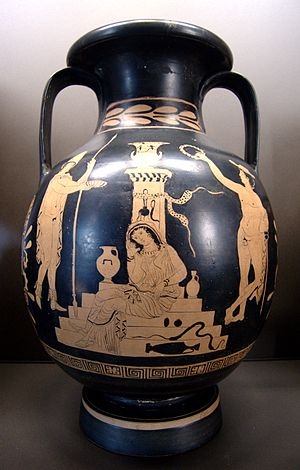 Electra - Orestes, Electra and Hermes at the tomb of Agamemnon, lucanian red-figure pelike, c. 380–370 BC, Louvre (K 544)