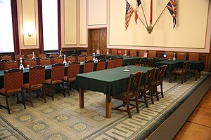 Karlshorst - Original table and chairs as set up for the second signing of the Unconditional Surrender of the Germans