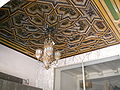Ornate ceiling and lighting fixture at entrance, Hollywood Pacific Theatre.JPG