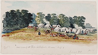 Alfred Sully - Our Camp at Cha-ink-pah River, watercolor, by Alfred Sully, c. 1856