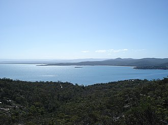 Coles Bay, Tasmania - Great Oyster Bay and Coles Bay township from the Freycinet National Park