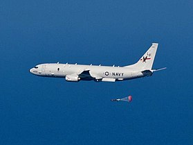P-8A Poseidon of VP-16 dropping torpedo in 2013.JPG