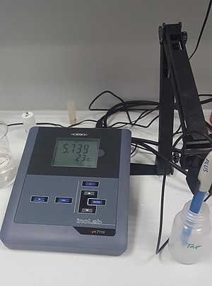 PH meter - 5.739 pH/Ion at 23 °C temperature shown on photo. pH 7110 pH meter manufactured by inoLab