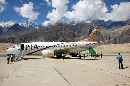 Boeing 737 owned and operated by Pakistan International Airlines (PIA). PIA operates scheduled services to 70 domestic destinations and 34 international destinations in 27 countries. PIA rendezvous-edit.jpg
