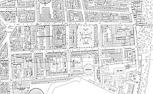 Page Street - Ordnance Survey map of Page Street in the 1890s before slum clearance and the construction of social housing blocks.