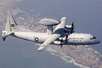 Shaanxi Y-8 - Pakistan Air Force ZDK-03 inflight over Manora Cantonment (September 2013)