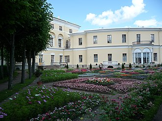 Pavlovsk Park - The private garden of Maria Feodorovna. The windows of her private apartment overlooking the garden are visible in the background.