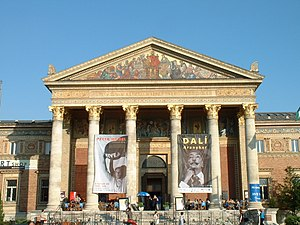 Hall of Art, Budapest -  Greek Revival style portico, with main entrance.