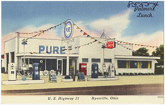 Pure Oil - Postcard showing a Pure Oil station and a lunch counter, ca. 1930-1945.