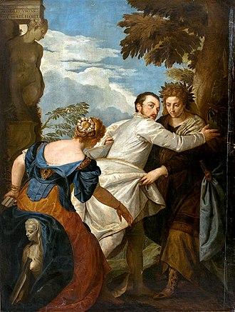 Allegory of Virtue and Vice (Veronese) - Image: Paolo veronese (boucher) hercules na encruzilhada