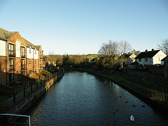 Parbold - View of the Leeds and Liverpool Canal through the village. Parbold Hill can be seen in the background.