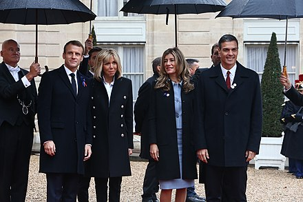 Presidential couples of France and Spain in the centenary commemoration of the Armistice, 2018 Parejas presidenciales de Francia y Espana, 2018.jpg