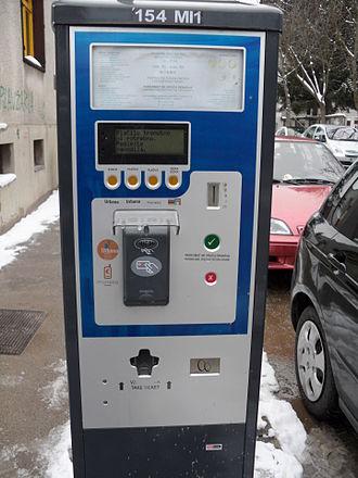 Driving in Slovenia - A parking meter in Ljubljana.
