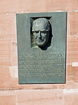 Georg-August Zinn - Memorial to Zinn in Paulskirche, Frankfurt