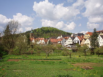 Pegnitz (town) - Pegnitz, with St. Bartholomäus on the left and castle hill in the background.