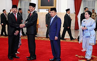 Megawati Sukarnoputri - Megawati with Joko Widodo and Jusuf Kalla (2nd and 3rd from left) in 2016.