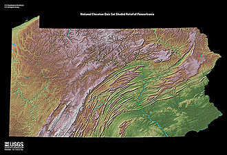 Gaps of the Allegheny - USGS - Appalachians Mountain chain showing the lines of the barrier ridges in central, western, and northwestern Pennsylvania. Counting the Hudson Valley north of the Catskills in New York and the southern end of the chain on the Georgian plains, there are exactly three narrow areas where water gaps allowed climbing up to mountain passes allowing passage across the mountains was possible to animal pulled transport vehicles.