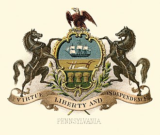 Flag and coat of arms of Pennsylvania - Image: Pennsylvania state coat of arms (illustrated, 1876)