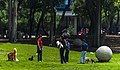 People with dogs on Las Islas, Ciudad Universitaria, Mexico City.jpg