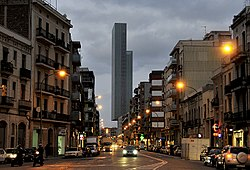 View of Carrer Pere IV in Poblenou, with Dominique Perrault's building in the background