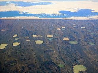 Dewey Soper Migratory Bird Sanctuary - Image: Permafrost thaw ponds in Hudson Bay Canada near Greenland (cropped)