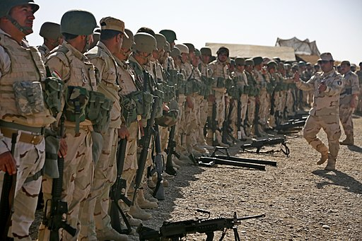 Peshmerga soldiers prepare to conduct a combined arms live-fire exercise near Erbil, Iraq