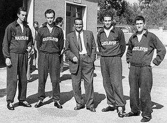 Yugoslavia at the 1952 Summer Olympics - Coxless four gold medalists Petar Šegvić, Mate Trojanović, Velimir Valenta and Duje Bonačić with their coach Davor Jelaska