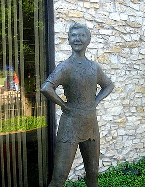 Mary Martin - Peter Pan statue in Martin's hometown of Weatherford in Parker County, Texas