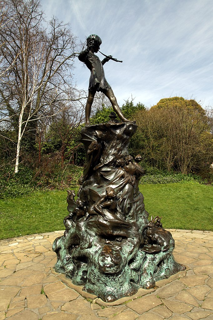 file peter pan statue in kensington gardens in the city of westminster in london spring 2013