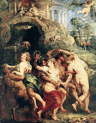 The Feast of Venus (Rubens) - Detail of dancing nymphs and satyrs. The nymph on the far left was modeled by Rubens' wife Helena.