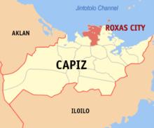 Mapa ng Capiz na pinapakita ang lokasyon ng Lungsod Roxas