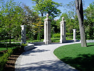 University of Toronto - Stone pillars of the Bennett Gates mark the southern entrance of Philosopher's Walk.