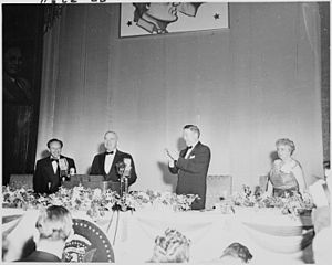 Photograph of President Truman at the podium, ...
