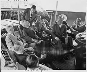 George E. Allen - Allen (far right) aboard USS ''Williamsburg'' with President Truman (1946)