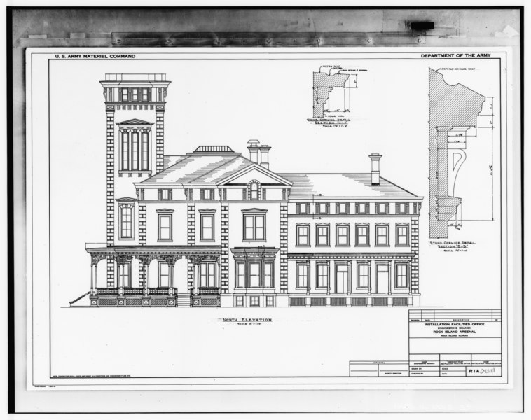 File:Photograph of line drawing in possession of Engineering Plans and Services Division, Rock Island Arsenal. NORTH ELEVATION, UNDATED. - Rock Island Arsenal, Building No. 1, HABS ILL,81-ROCIL,3-1-35.tif