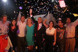 Sebastián Piñera - Piñera celebrates victory alongside wife and family.