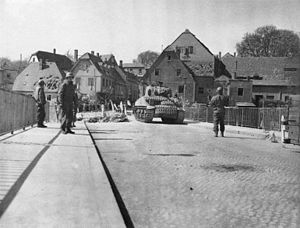 Colditz Castle - Colditz Bridge during 1945 after the town had been occupied by the US Army.