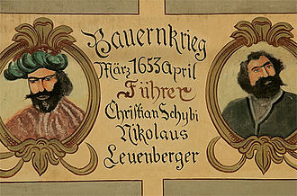 Willisau - Wall painting commemorating two leaders of Swiss peasant war from Willisau