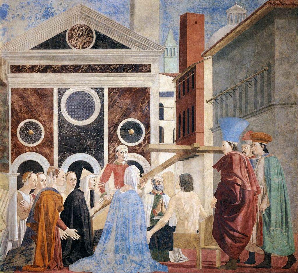 Piero della Francesca, Le Storie della Vera Croce, Verifica e Adorazione della Croce (primo registro parete sinistra), Basilica di San Francesco, Arezzo