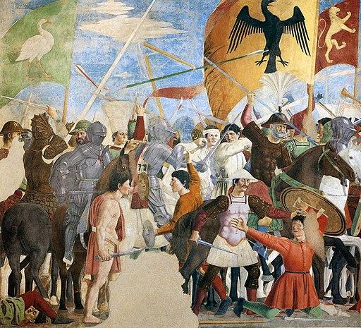 Piero della Francesca,Battaglia di Eraclio e Cosroè, affresco, Basilica di San Francesco, Arezzo