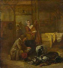 A Man with Dead Birds, and Other Figures, in a Stable
