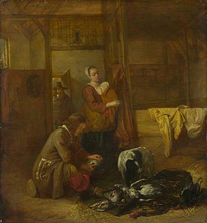 A Man with Dead Birds, and Other Figures, in a Stable - Image: Pieter de Hooch 3 figures in a stable with dead birds and a dog overpainted in the 19th century