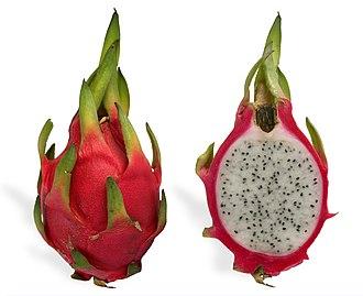 Pitaya - Longitudinal section of a ripe pitahaya