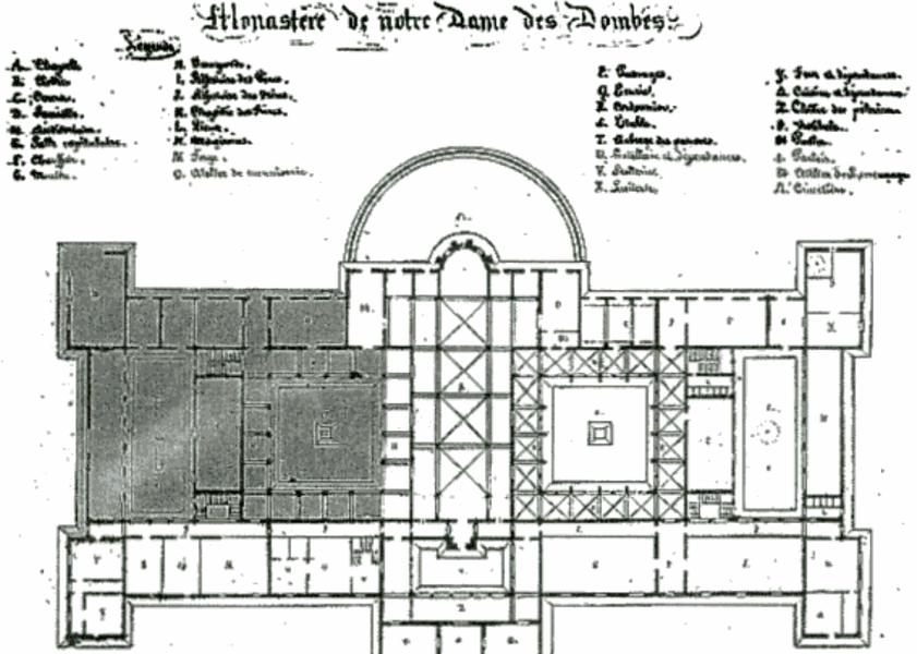 Plan originel (non entièrement réalisé) de l'abbaye Notre-Dame des Dombes au Plantay (Ain), dressé par l'architecte Pierre Bossan.