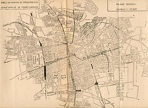 Santiago Metro - Metro network projection in 1944.