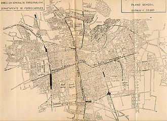 Santiago Metro - Metro network projection in 1944.