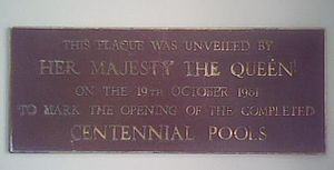 Te Rapa - In 1981, this plaque was unveiled by Queen Elizabeth II at the Centennial Pools.