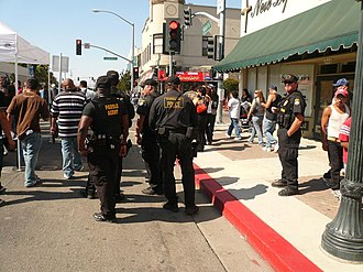 Hollister riot - Image: Police at motorcycle rally, Hollister, California 2007